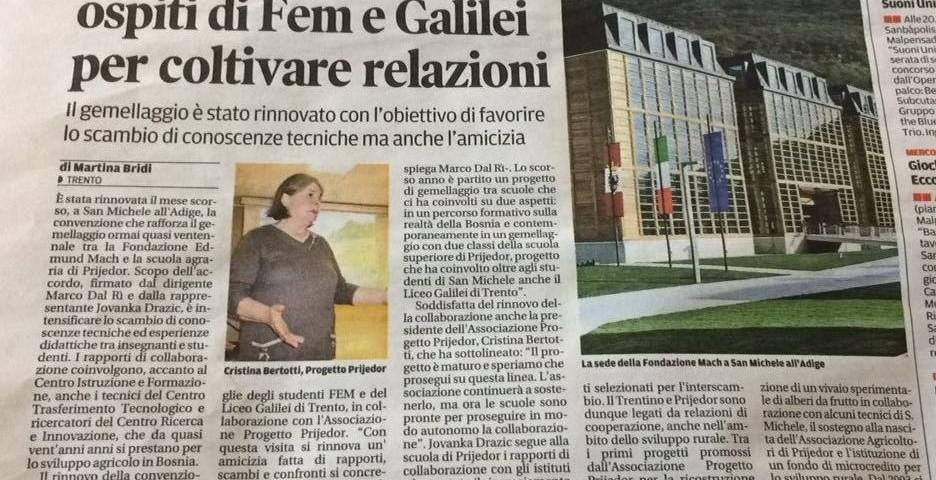 Le iniziative dell'Associazione Progetto Prijedor segnalate dai giornali